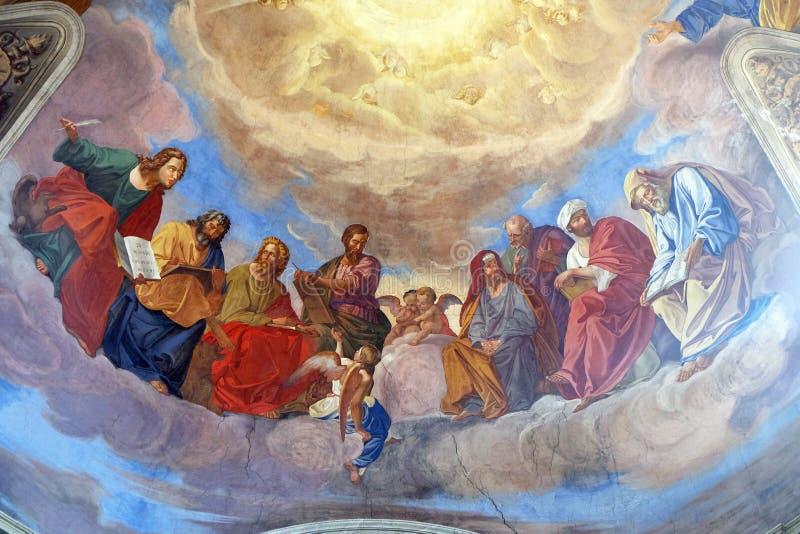 Gli evangelisti ed il dettaglio dei profeti immagini stock