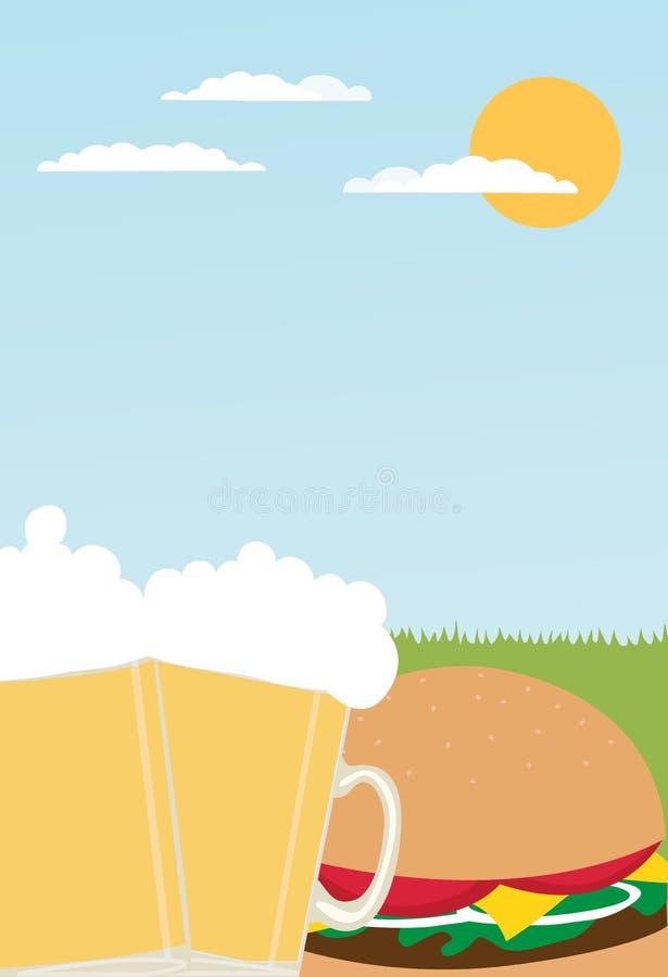 Gli hamburger, le birre ed il bbq fanno festa il modello delle azione dell'aletta di filatoio dell'invito illustrazione vettoriale