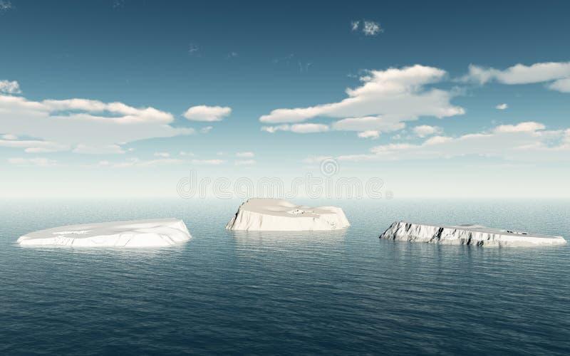 Gli iceberg grandi sull'oceano aperto illustrazione vettoriale