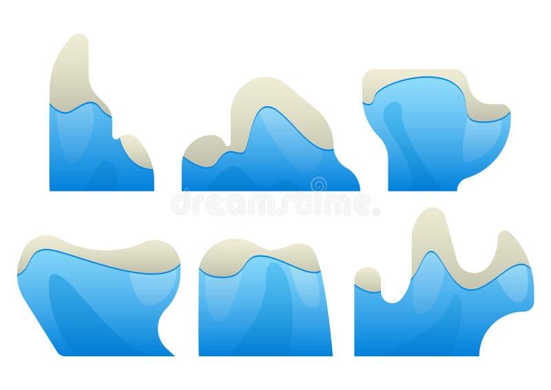 Gli iceberg sono parecchi tipi con i picchi nevosi illustrazione vettoriale