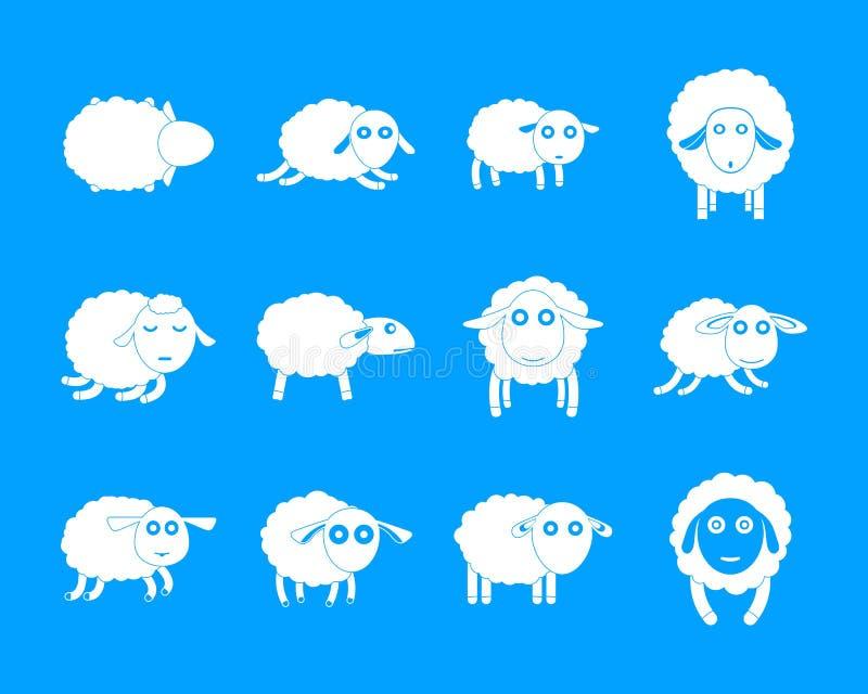 Gli iicons svegli dell'azienda agricola dell'agnello delle pecore hanno messo, stile semplice royalty illustrazione gratis