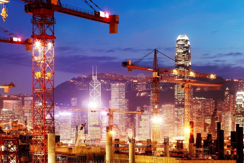 Gli impianti in costruzione della sezione di Hong Kong di Canton Shenzhen Hong Kong esprimono il collegamento ferroviario fotografie stock libere da diritti