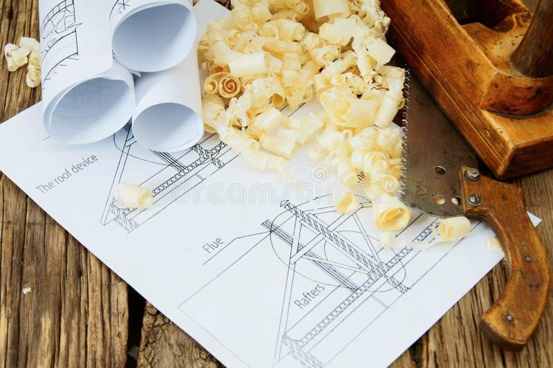 Gli impianti del falegname Disegni per la costruzione e lavorare immagine stock