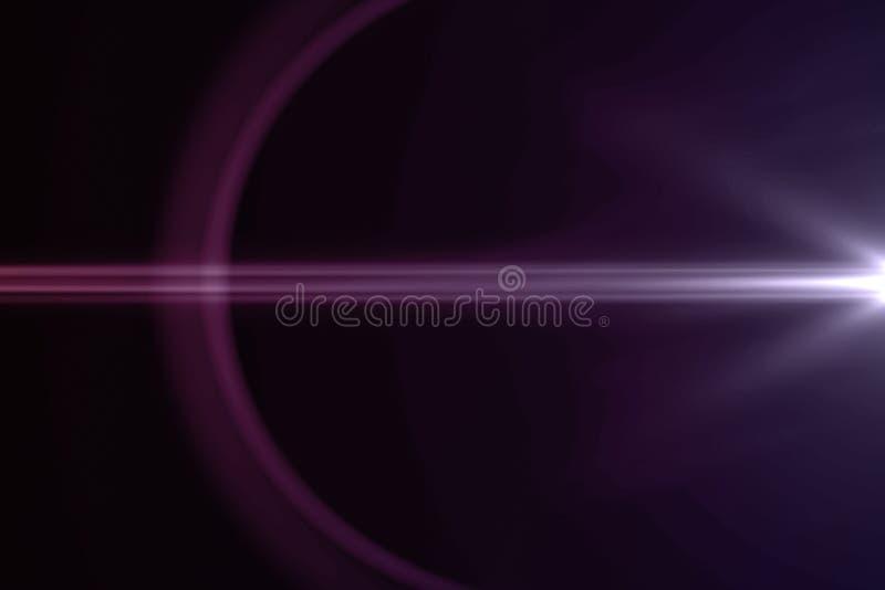 Gli impulsi luminosi viola astratti ed emette luce fondo di moto delle perdite, con le linee orizzontali movimento di defocus illustrazione di stock