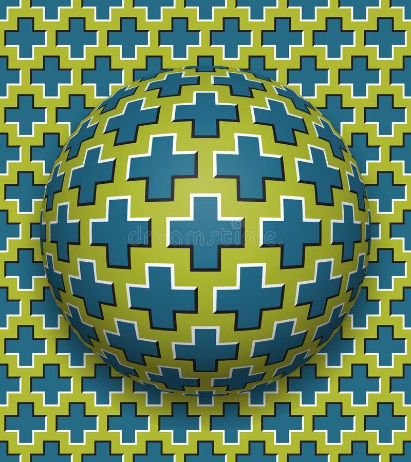 Gli incroci hanno modellato il rotolamento della palla lungo la stessa superficie Illustrazione astratta di illusione ottica di v royalty illustrazione gratis