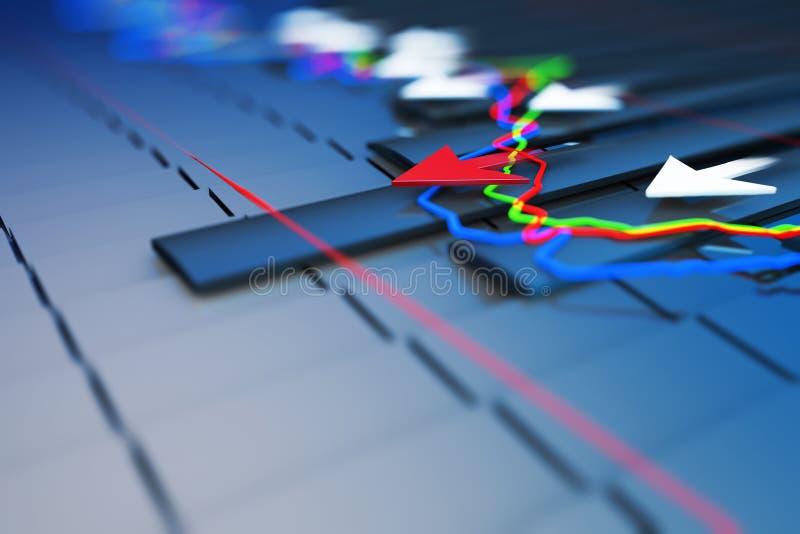 Gli indicatori economici e si muovono in avanti con la freccia illustrazione vettoriale