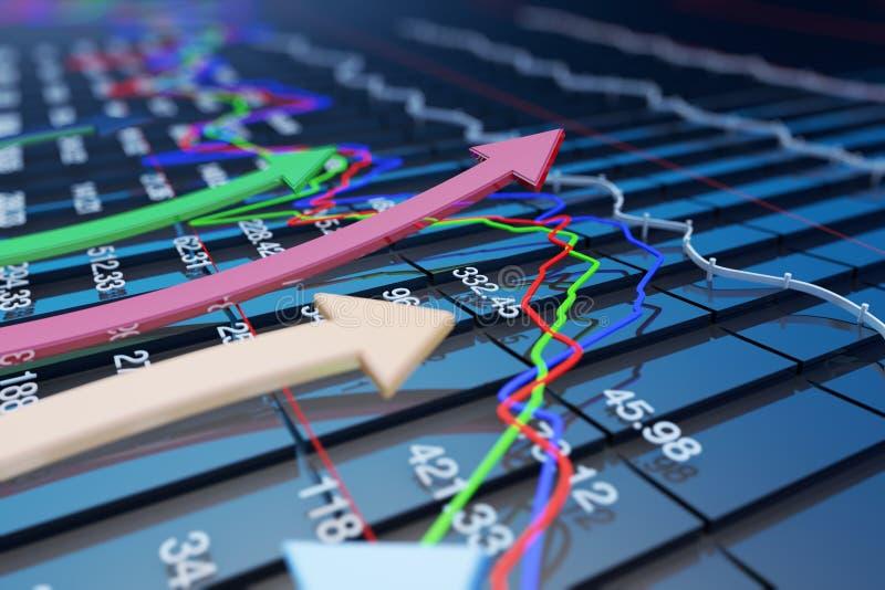 Gli indicatori economici e si muovono in avanti con la freccia illustrazione di stock