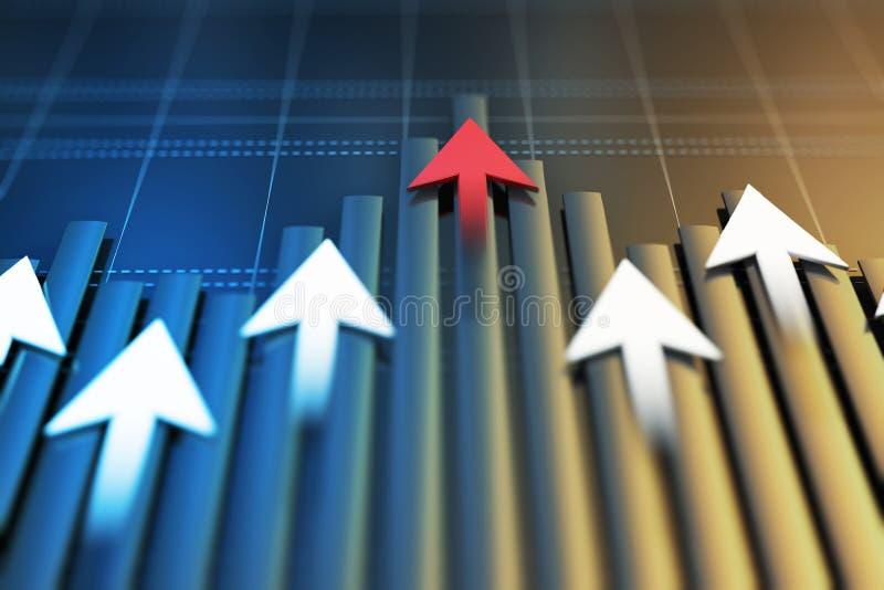 Gli indicatori economici e si muovono in avanti con la freccia immagine stock