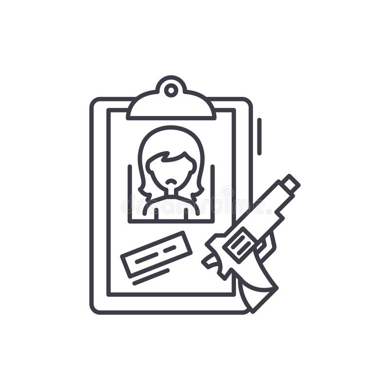 Gli indizi allineano il concetto dell'icona Illustrazione lineare di vettore di indizi, simbolo, segno illustrazione di stock