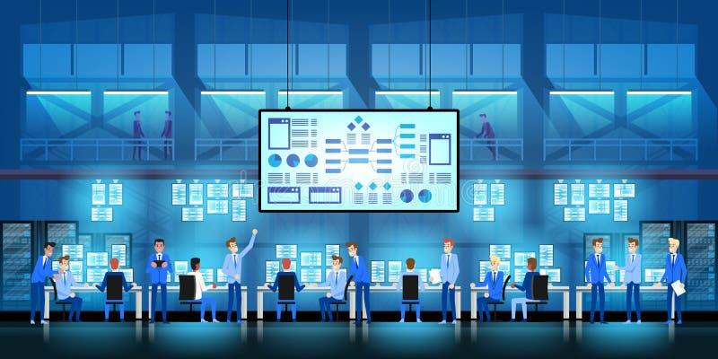Gli ingegneri dell'IT nel grande centro dati lavorano al progetto di governo di nuova tecnologia con le stanze ed i computer del  royalty illustrazione gratis