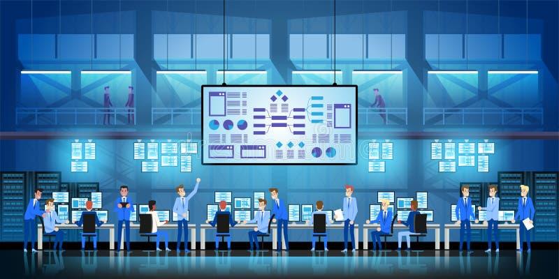 Gli ingegneri dell'IT nel grande centro dati lavorano al progetto di governo di nuova tecnologia con le stanze ed i computer del  illustrazione di stock