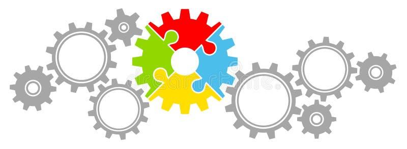 Gli ingranaggi confinano il grande e piccolo colore di puzzle e grigio illustrazione vettoriale