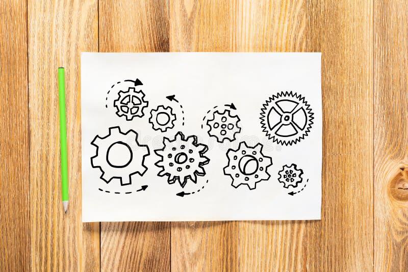 Gli ingranaggi giranti disegnano a matita disegnato a mano immagine stock libera da diritti