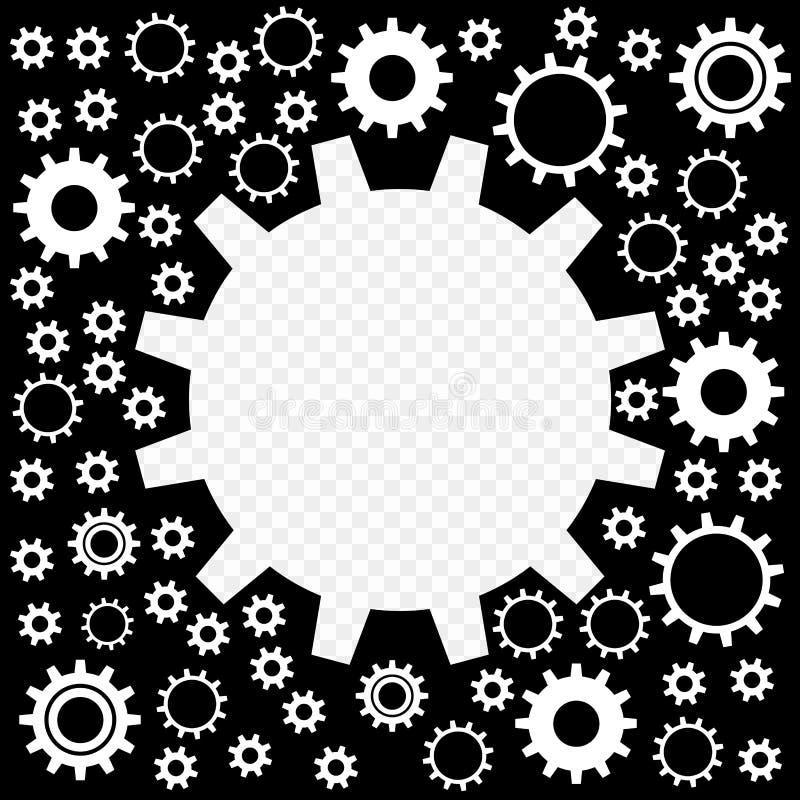 Gli ingranaggi sono brillanti, argento con i punti culminanti Pagina sotto forma di ingranaggi con la possibilità della sovrappos illustrazione di stock