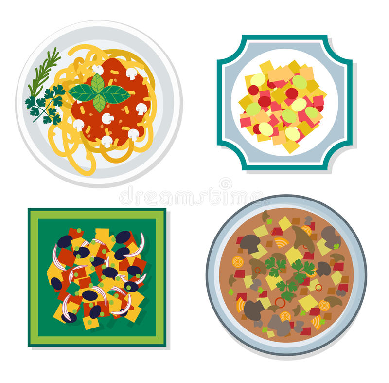 Gli ingredienti alimentari vector l'illustrazione piana illustrazione di stock