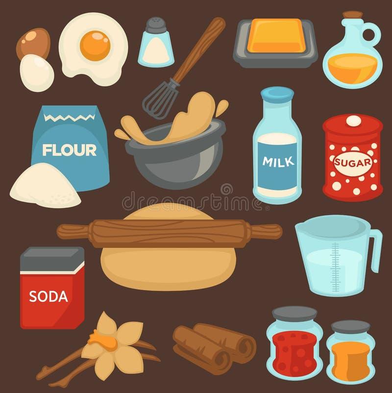 Gli ingredienti e gli strumenti di cottura per i dolci della pasticceria e del pane vector le icone piane illustrazione vettoriale