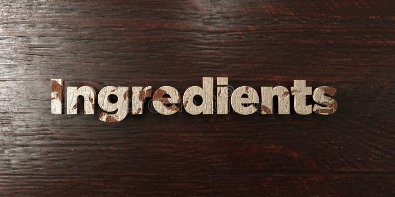 Gli ingredienti - titolo di legno grungy sull'acero - 3D hanno reso l'immagine di riserva libera della sovranità royalty illustrazione gratis