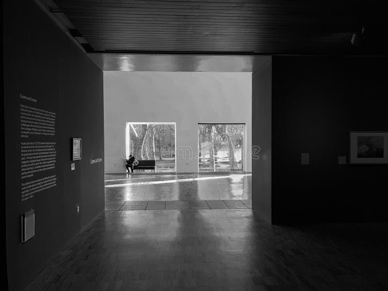 Gli interni del Whitworth Art Gallery a Manchester che affronta verso Whitworth parcheggiano fotografia stock