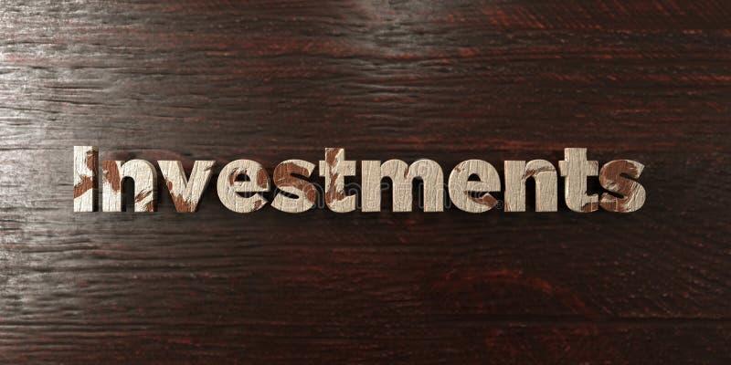 Gli investimenti - titolo di legno grungy sull'acero - 3D hanno reso l'immagine di riserva libera della sovranità royalty illustrazione gratis