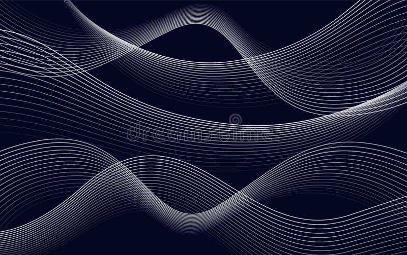 Gli isolati sottraggono le linee ondulate fondo, illustrazione di colore blu scuro di vettore del contesto delle curve illustrazione di stock