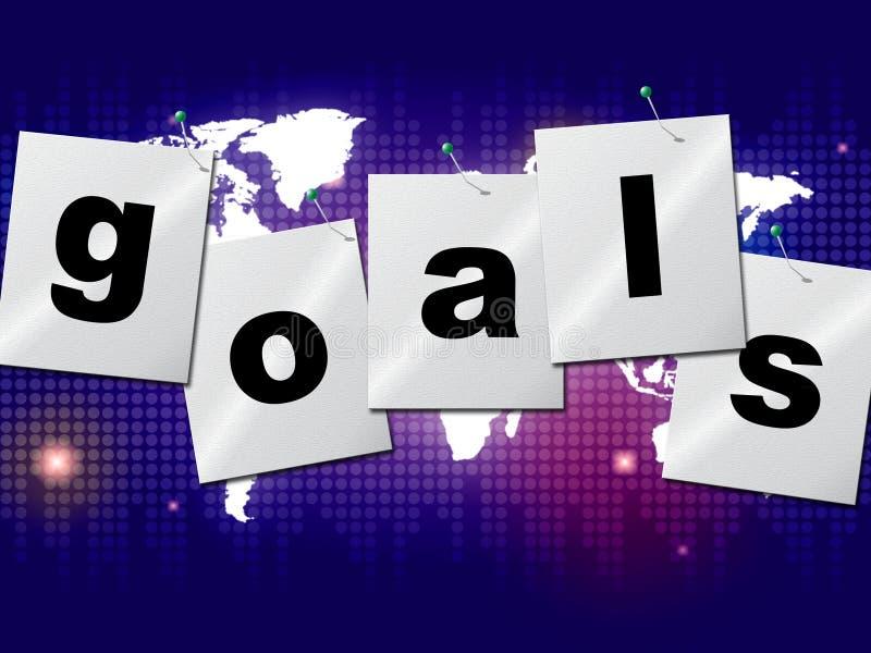 Gli obiettivi di scopi indica gli obiettivi e la previsione di aspirazioni illustrazione vettoriale