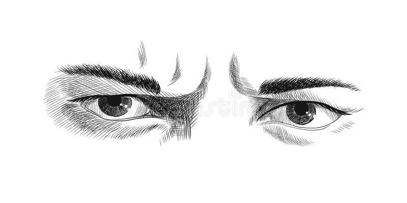 Gli occhi aggrottanti le sopracciglia degli uomini con le emozioni di rancore e di rabbia, disegno monocromatico della grafica ve illustrazione di stock