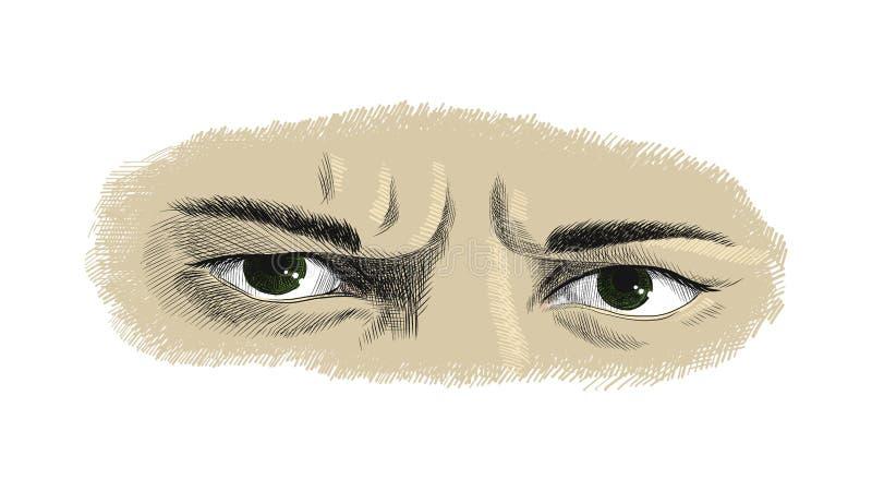 Gli occhi aggrottanti le sopracciglia degli uomini con le emozioni di rancore e di rabbia, disegno variopinto della grafica vetto illustrazione di stock