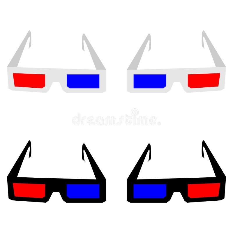 Gli occhiali 3d o gli occhiali illustrazione di stock