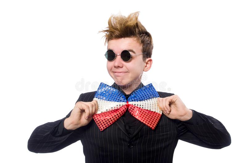 Gli occhiali da sole d'uso dell'uomo divertente isolati su bianco immagini stock libere da diritti
