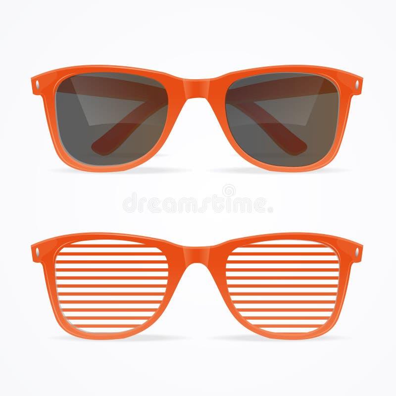 Gli occhiali da sole realistici 3d hanno barrato retro il concetto rosso e nero Vettore royalty illustrazione gratis