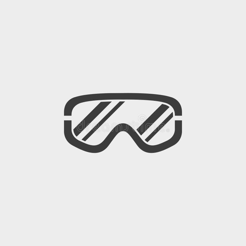 Gli occhiali di protezione descrivono l'icona monocromatica in una progettazione piana nel colore nero Illustrazione EPS10 di vet royalty illustrazione gratis