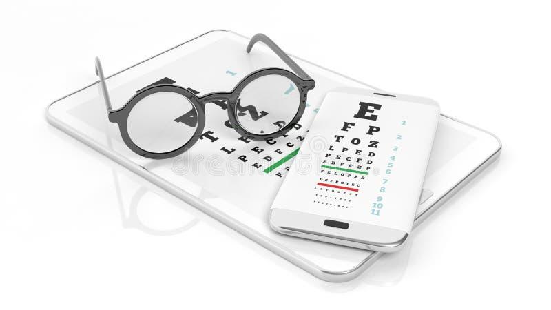 Gli occhiali, la compressa e lo smartphone con vista provano sullo schermo fotografie stock
