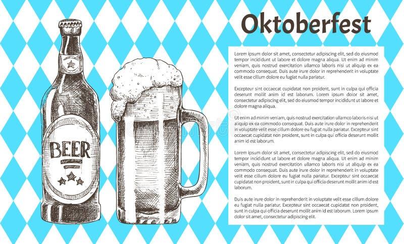Gli oggetti della birra di Oktoberfest hanno messo le icone disegnate a mano royalty illustrazione gratis