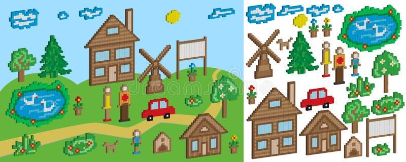 Gli oggetti e le figure del pixel per istruzione ed i giochi dei bambini illustrazione vettoriale