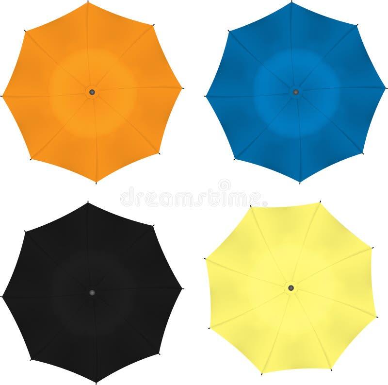 Gli ombrelli variopinti dell'illustrazione di vettore hanno messo isolato su bianco illustrazione vettoriale
