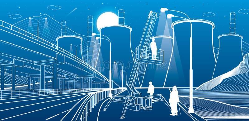 Gli operai servono le luci Macchina per l'industria, gru solleva un uomo Autostrada illuminata Sovraccarico dell'auto e centrale  illustrazione di stock