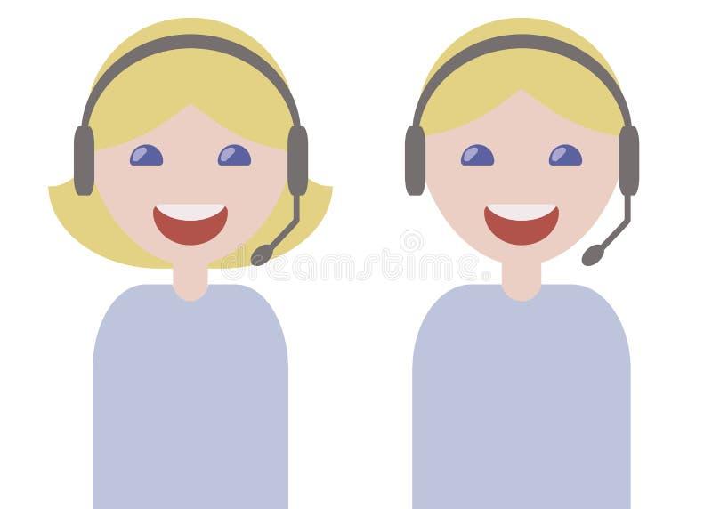 Gli operatori del tipo e della ragazza telefonano le bionde sorridenti del microfono delle cuffie nelle edizioni leggere blu di s illustrazione vettoriale