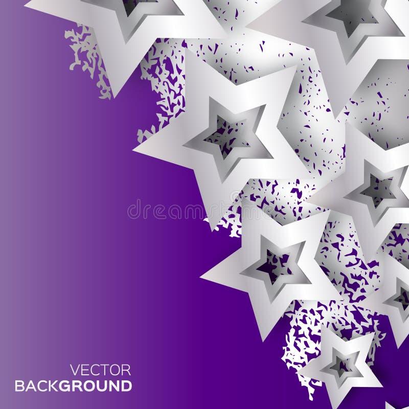 Gli origami astratti argentano le stelle sul fondo porpora di vettore illustrazione di stock