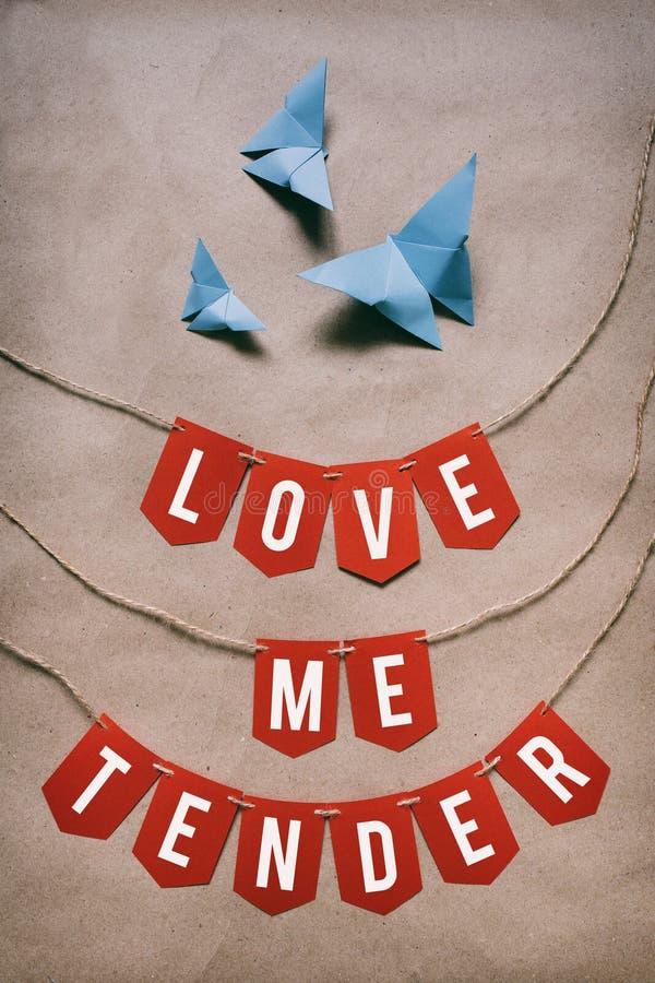 Gli origami blu hanno piegato le farfalle, ghirlanda rossa, bianca, di carta Amimi citazione d'iscrizione bianca tenera sul fondo immagine stock