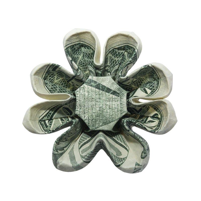Gli origami dei soldi otto petali FIORISCONO l'un dollaro reale Bill Isolated su fondo bianco immagine stock libera da diritti