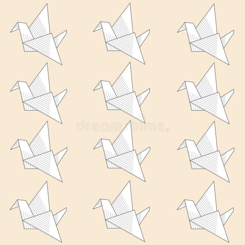 Gli origami incartano il modello senza cuciture dell'uccello su fondo leggero illustrazione di stock