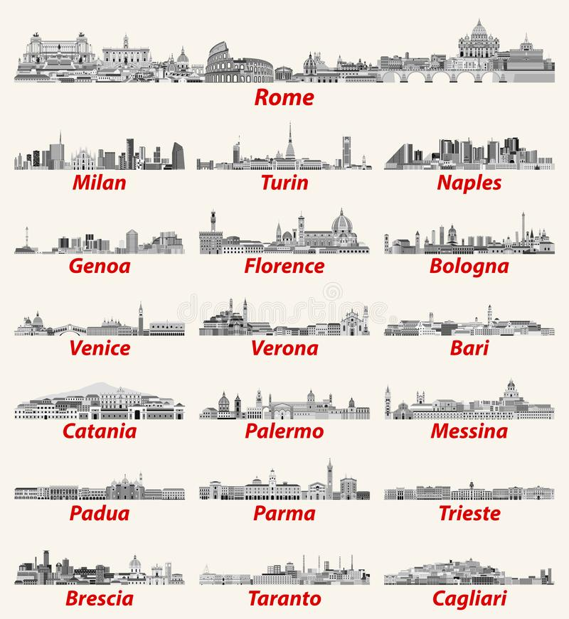 Gli orizzonti italiani delle città in bianco e nero colorano la tavolozza Alta illustrazione dettagliata di vettore royalty illustrazione gratis