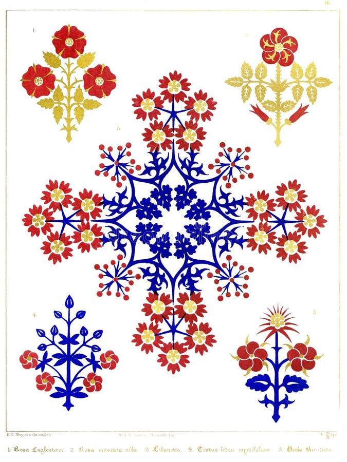 Gli ornamenti Floriated placcano 16 immagine stock