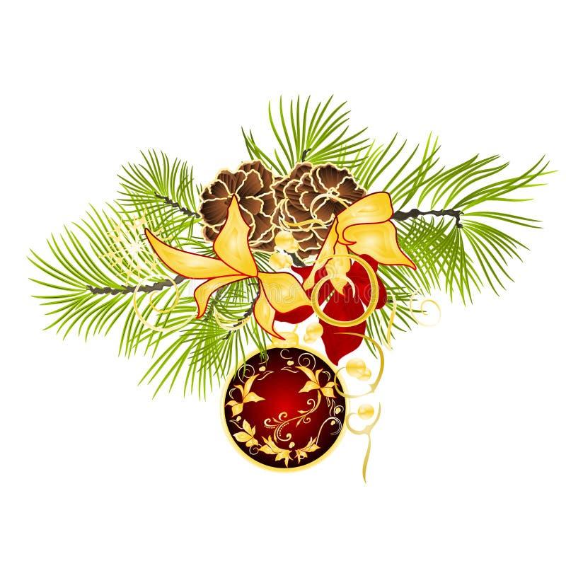 Gli ornamenti rossi di Natale della decorazione del nuovo anno e di Natale con la stella di Natale festiva dorata lascia tre ed i royalty illustrazione gratis