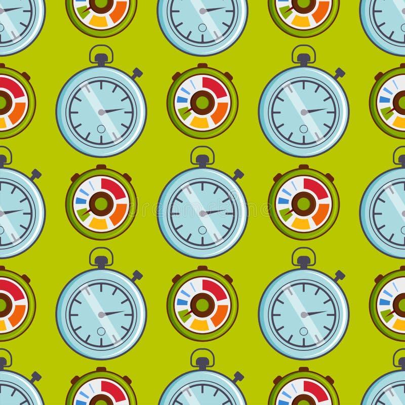 Gli orologi di orologio vector l'illustrazione senza cuciture del cronometro di informazioni digitali di numero degli strumenti d royalty illustrazione gratis