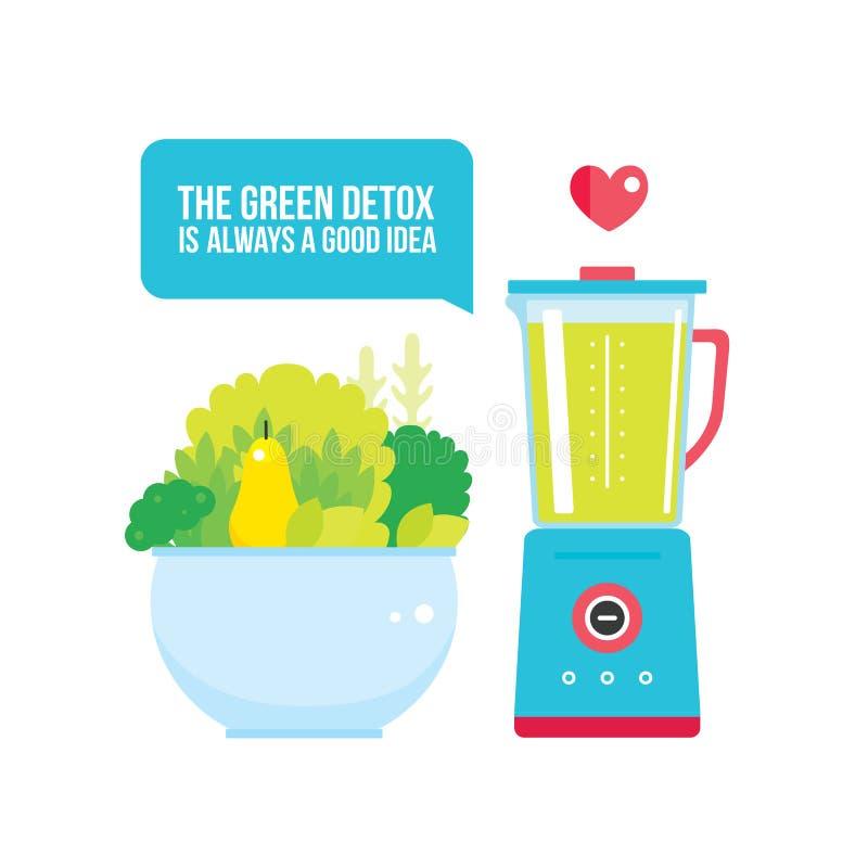 Gli ortaggi da frutto si inverdisce la ciotola e l'alimento fresco organico del miscelatore illustrazione vettoriale