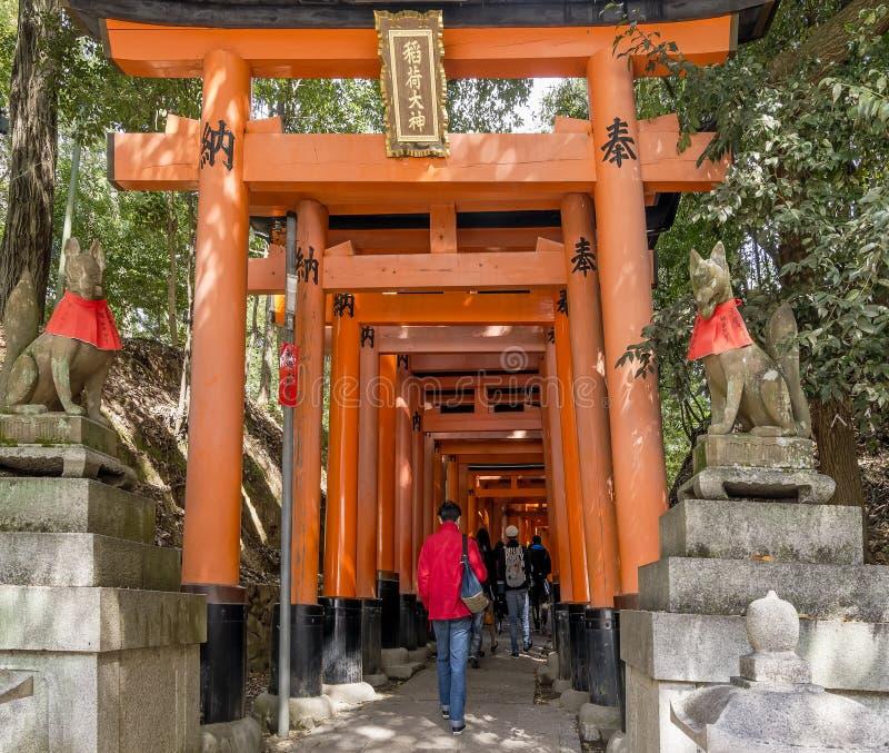 Gli ospiti dentro il Fushimi famoso Inari shrine a Kyoto, Giappone immagine stock libera da diritti