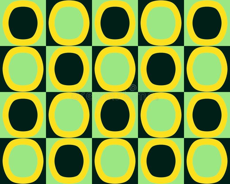 Gli ovali dell'alternativa di arte di schiocco modellano il nero di verde giallo illustrazione vettoriale