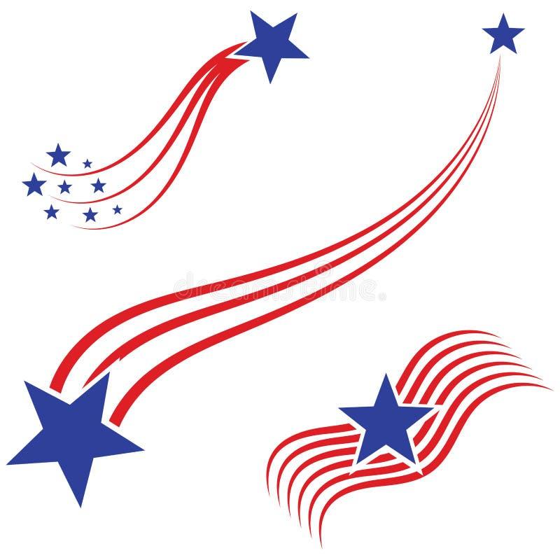 Gli S.U.A. diminuiscono, illustrazione di vettore degli elementi della bandiera americana illustrazione vettoriale