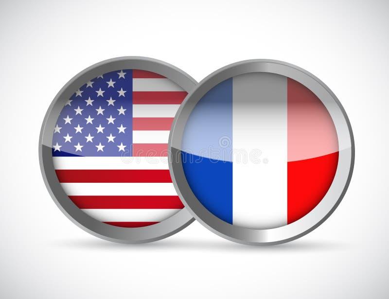 gli S.U.A. ed illustrazione delle guarnizioni del sindacato della Francia illustrazione di stock